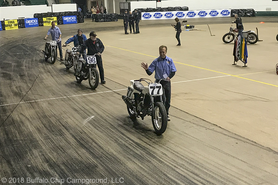 Legends of Flat Track paraded their bikes around the track during the War of the Twins halftime.