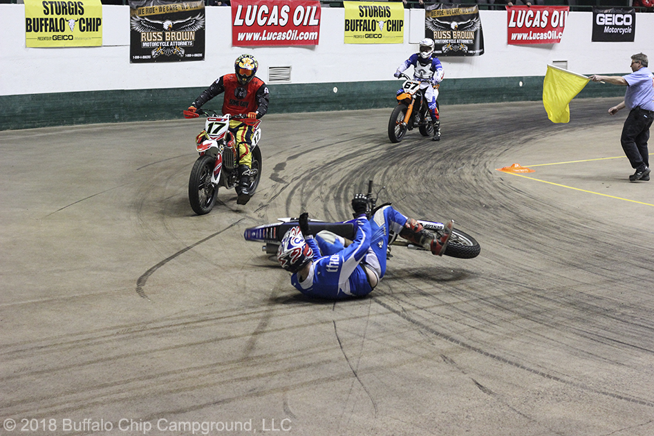 Riders got sideways during the War of the Twins practice heats, as they fought to get a handle on the floor's soda syrup coating.