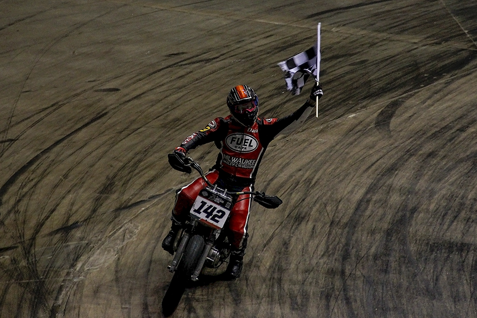 A victory lap with the checkered flag