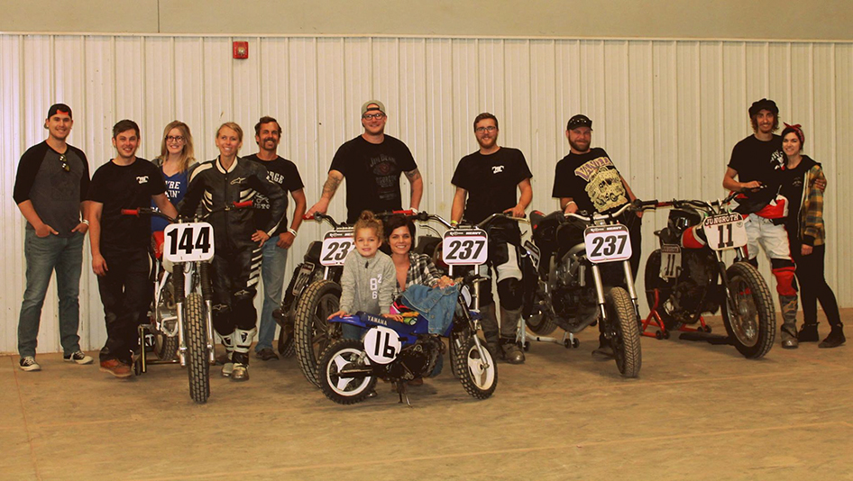 Erik Moldenhauer with his family and flat track racing team