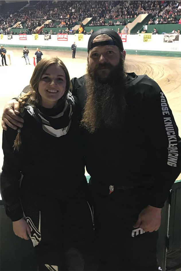 Boonie bike racers Bubba Samuelson and daughter Chelsea at the War of the Twins Indoor Flat Track Races in the Lee & Rose Warner Coliseum